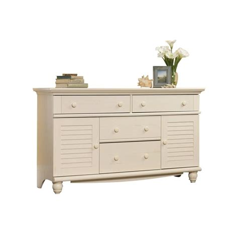 Sauder Harbor View Dresser Antiqued White Finish by Dresser In Antiqued White 158016
