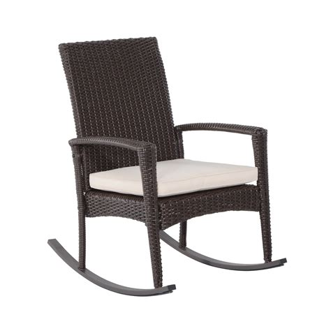 Outsunny Rattan Rocking Chair W/ Cushion Brown/Beige