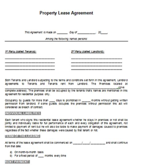 property contract layout archives word templates