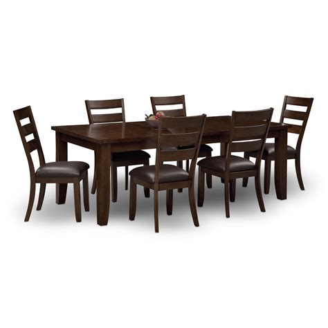 dining room furniture chairs abaco table and 6 chairs brown value city furniture