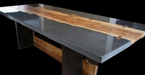 concrete and wood dining table concrete table with wood inlay by keelin kennedy cheng