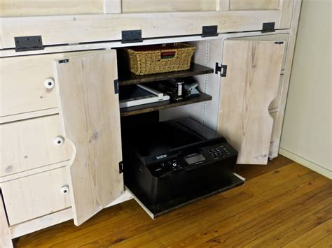 Printer Pull Out Shelf by Hutch Desk Reveal And Building Process The Project
