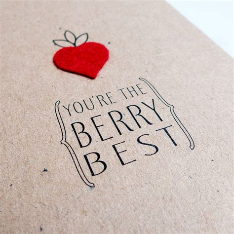 Strawberry Card Gold you re the berry best felt strawberry valentines card by