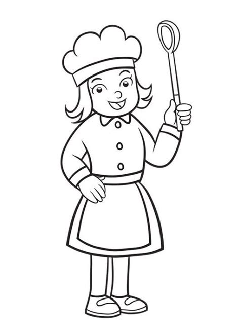 girl chef coloring page girl chef pages coloring pages