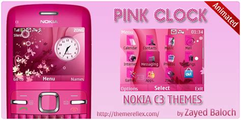 yellow themes for nokia c3 pink clock nokia c3 animated theme themereflex