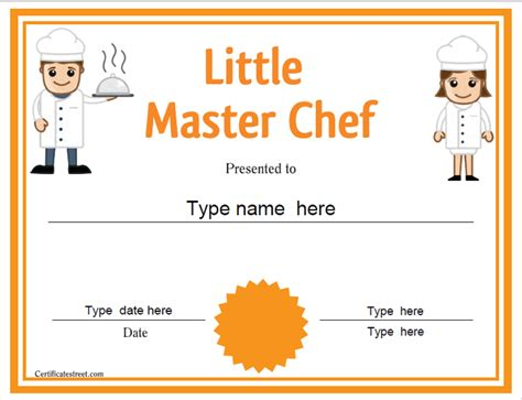 chef template certificate free award certificate templates no