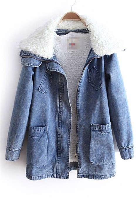 Vest The Offspring Jaket Hoodie Zipper Sweater Keren blue lambs fleece lapel pockets denim parka coat denim parka parka coat and lambs