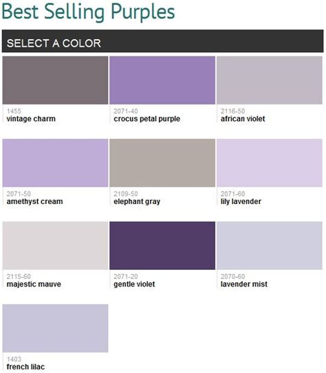 selling purples benjamin moore  favorites