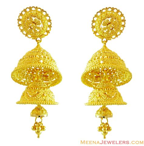 gold jhumka pattern 22k layered chandelier earrings erfc14616 22kt gold