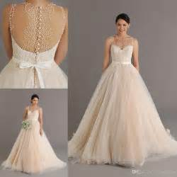 Champagne wedding dresses with pearls sheer neck ball gown wedding