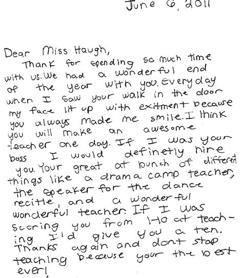 Thank You Letter To From Student Haughind300math Thank You Letters