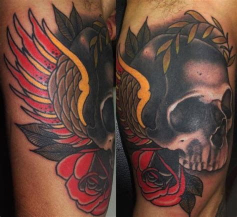 tattoo old school wing arm old school skull wings tattoo by emily rose murray