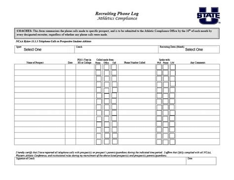 side by side coaching template 40 printable call log templates in microsoft word and excel