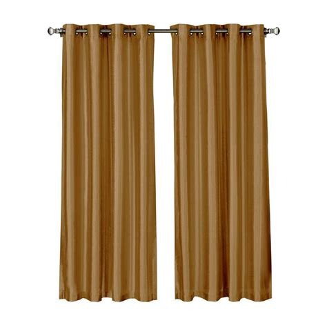 Gold Grommet Curtains Window Elements Faux Silk 84 In L Grommet Curtain Panel Pair Gold Set Of 2 Ymc002607