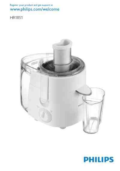 Juicer Extractor Philips philips hr1851 juice extractor manual for free