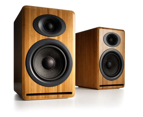 Bookshelves Speakers Audioengine P4 Bookshelf Speakers Solid Bamboo The