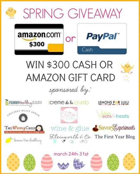 Free 300 Amazon Gift Card - spring giveaway 300 cash or amazon gift card yummy healthy easy