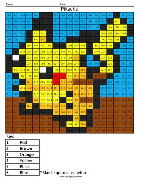 Pokemon Math Coloring Pages   Coloring Squared