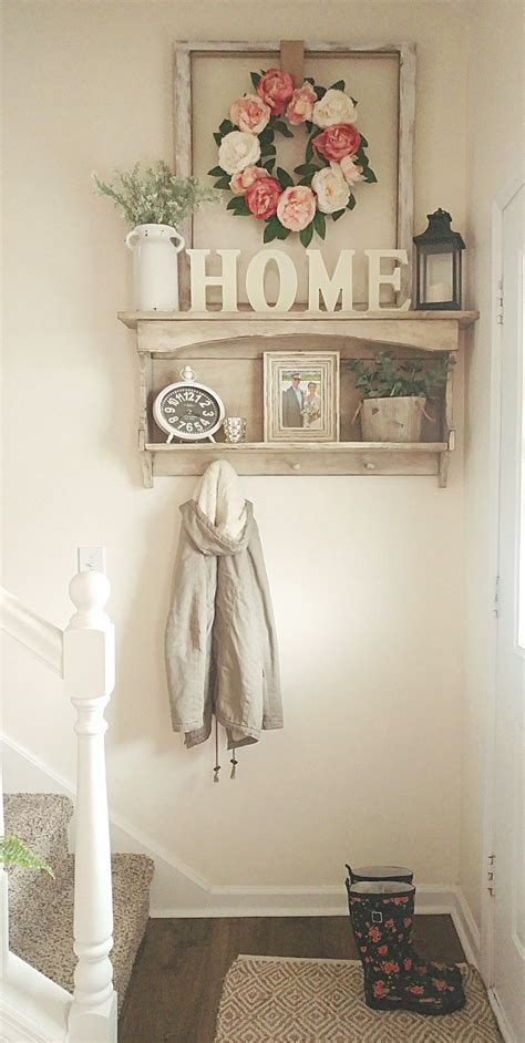 small entryway spring flowers country white farmhouse