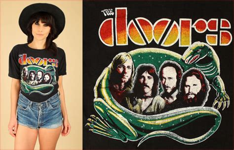 the doors vintage t shirt 70 s rock black lizard