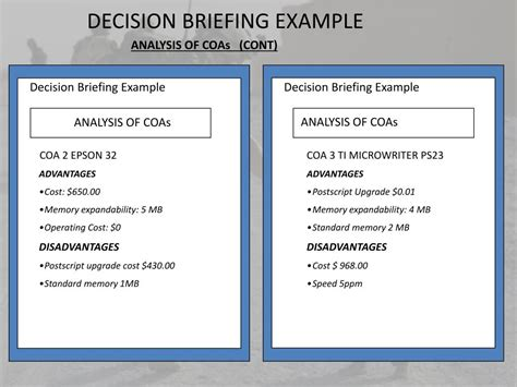Army Decision Briefformat Ppt The Decision Briefing Powerpoint Presentation Id 217999