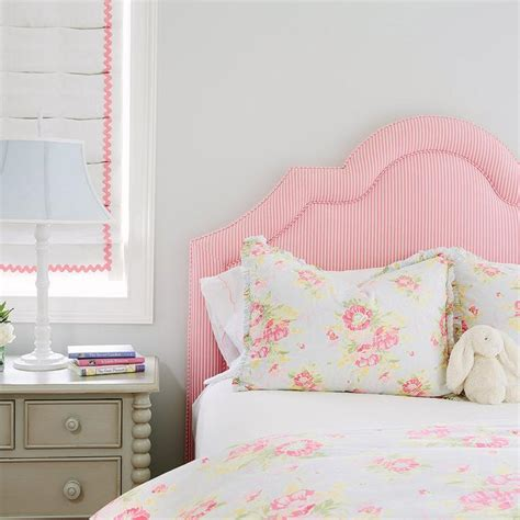 girls white headboard pink candy stripe headboard with gray nightstand