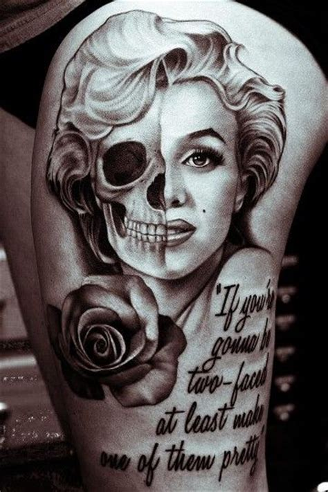 marilyn monroe skull tattoo designs marilyn but with color and