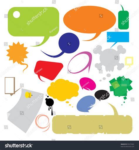 social speech bubbles different colors shapes stock vector speech bubbles different shapes and colors stock vector