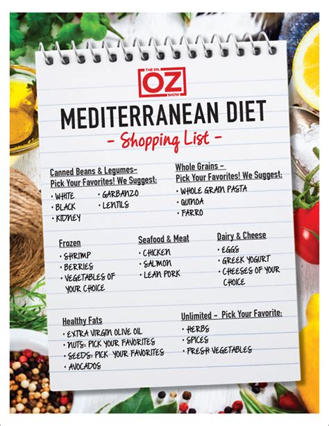printable recipes from today show dr oz s mediterranean diet shopping list the dr oz show