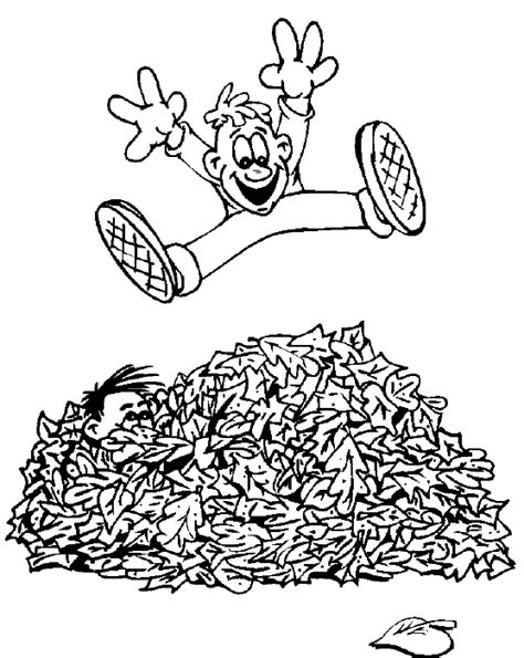 leaf pile coloring page fall coloring book pages autumn coloring pages jumping