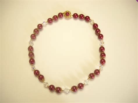 maroon beaded necklace vintage 22 maroon beaded necklace 6113