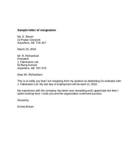 sample resignation letter templates ms