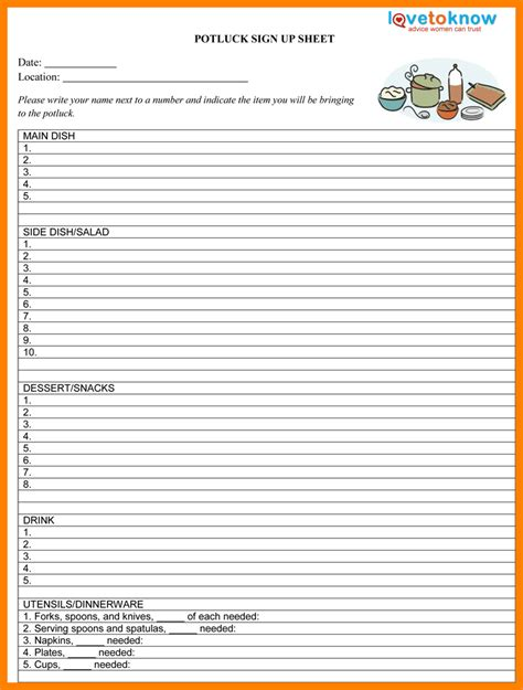 10 food sign up sheet template sephora resume