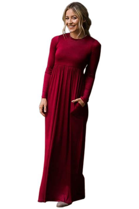Swager Size 27 Burgundy us 11 27 burgundy sleeve high waist maxi jersey dress dropshipping