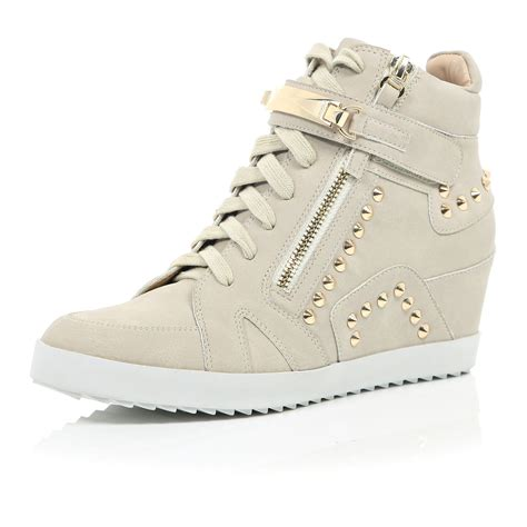 Grey Studded River Island Grey Studded Wedged High Top Trainers In