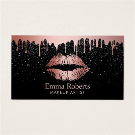 hairstyles business card how to make one makeup artist rose gold lips trendy dripping business card
