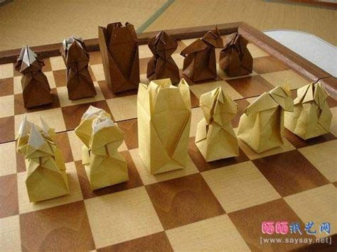 Origami Chess Pieces - origami chess set chesslove chess sets