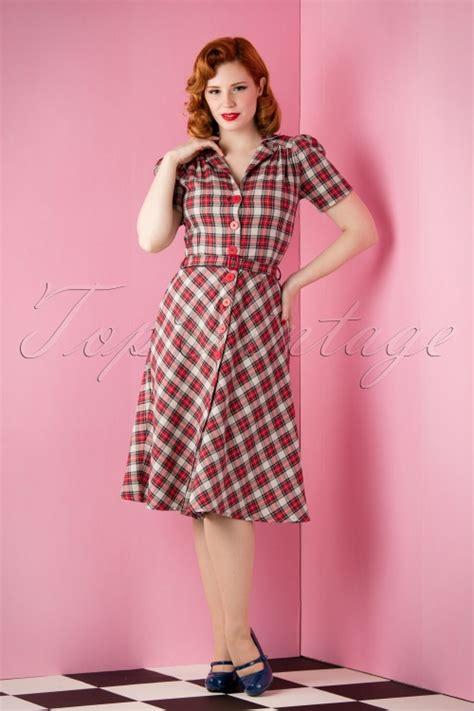 New Dress Bloomy Cs topvintage exclusive 40s tartan dress in grey and