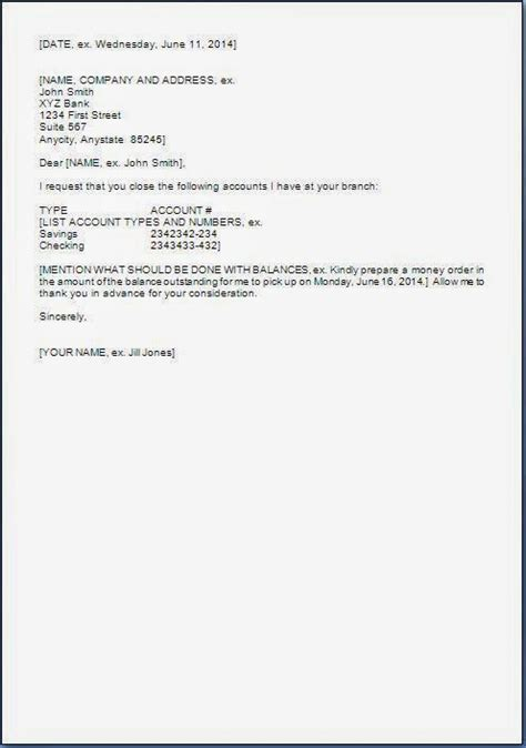 Closing Account Letter Sle Request Letter To Bank For Account Closure In Word