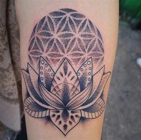 lotus tattoo denver custom black dotwork lotus flower of life tattoo by jon