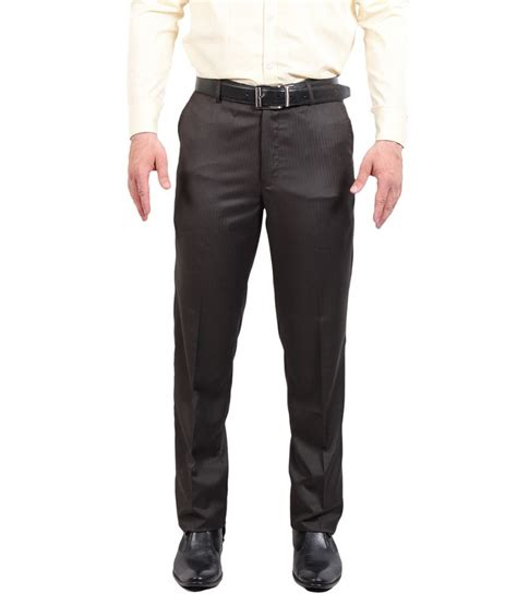 Trousers List solemio brown poly viscose slim fit formal trouser price