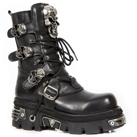 new rock boots m 375 s1 new rock calf height boots with skull buckles
