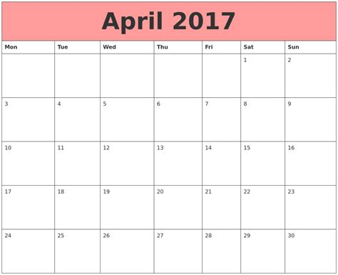 Calendars That Work Monthly April 2017 Calendars That Work