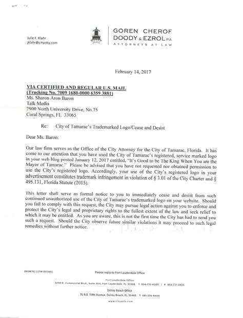 cancellation letter envy city of tamarac orders cease and desist letter to