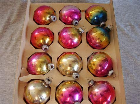 vintage shiny brite rainbow christmas ornaments box of 12