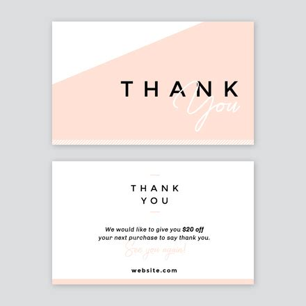 thank you for your business card template abstract thank you card