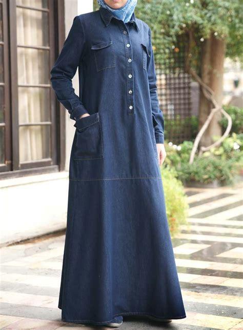 shukr usa denim pocketed dress islamic clothing abaya