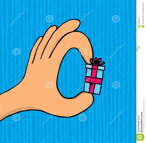 tiny tiny hand holding a small tiny gift stock photography image