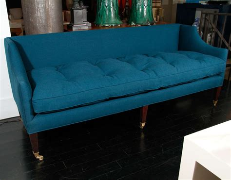 teal settee english settee in teal english cotton at 1stdibs