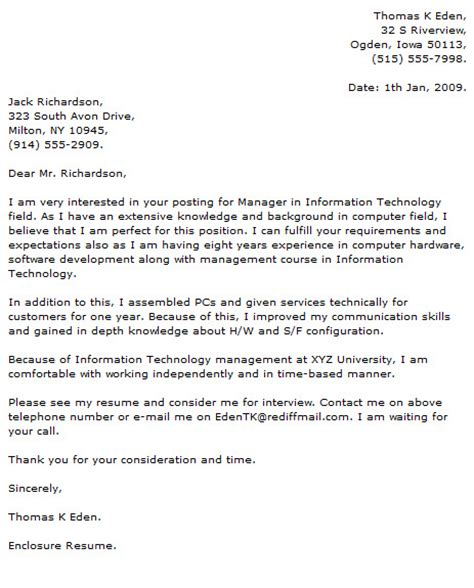 Cover Letters For Tech by Technology Cover Letter Exles
